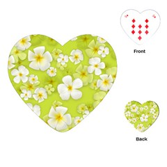 Frangipani Flower Floral White Green Playing Cards (Heart)