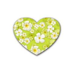 Frangipani Flower Floral White Green Rubber Coaster (heart)