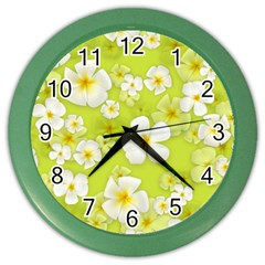 Frangipani Flower Floral White Green Color Wall Clocks
