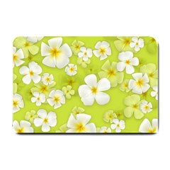 Frangipani Flower Floral White Green Small Doormat