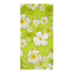 Frangipani Flower Floral White Green Shower Curtain 36  x 72  (Stall)