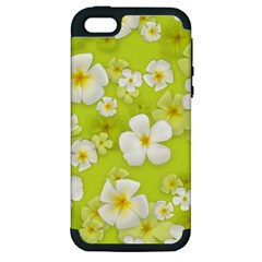Frangipani Flower Floral White Green Apple Iphone 5 Hardshell Case (pc+silicone)