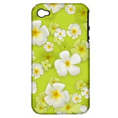 Frangipani Flower Floral White Green Apple iPhone 4/4S Hardshell Case (PC+Silicone)
