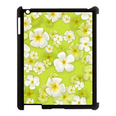 Frangipani Flower Floral White Green Apple iPad 3/4 Case (Black)