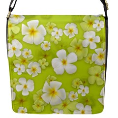 Frangipani Flower Floral White Green Flap Messenger Bag (S)