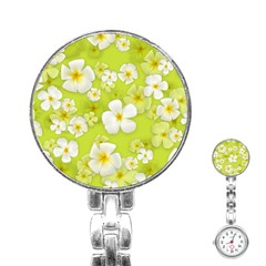 Frangipani Flower Floral White Green Stainless Steel Nurses Watch