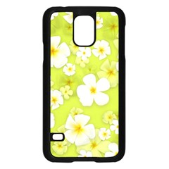 Frangipani Flower Floral White Green Samsung Galaxy S5 Case (Black)
