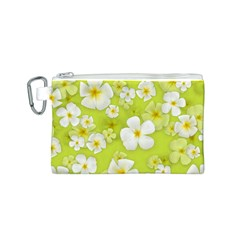 Frangipani Flower Floral White Green Canvas Cosmetic Bag (S)