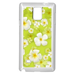 Frangipani Flower Floral White Green Samsung Galaxy Note 4 Case (White)