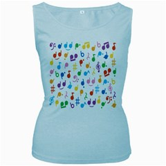 Notes Tone Music Purple Orange Yellow Pink Blue Women s Baby Blue Tank Top