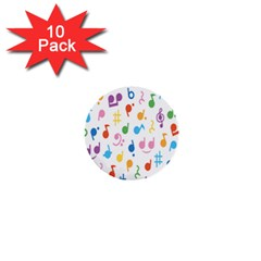 Notes Tone Music Purple Orange Yellow Pink Blue 1  Mini Buttons (10 Pack)