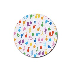 Notes Tone Music Purple Orange Yellow Pink Blue Rubber Coaster (round)
