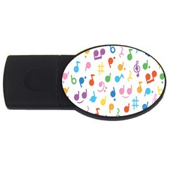 Notes Tone Music Purple Orange Yellow Pink Blue USB Flash Drive Oval (4 GB)