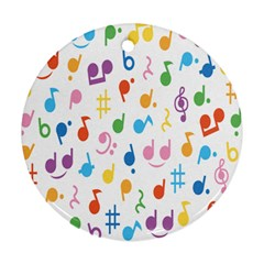 Notes Tone Music Purple Orange Yellow Pink Blue Round Ornament (Two Sides)