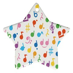 Notes Tone Music Purple Orange Yellow Pink Blue Star Ornament (Two Sides)
