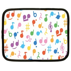 Notes Tone Music Purple Orange Yellow Pink Blue Netbook Case (XL)