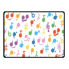 Notes Tone Music Purple Orange Yellow Pink Blue Double Sided Fleece Blanket (Small)
