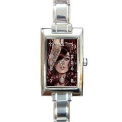 Beautiful Women Fantasy Art Rectangle Italian Charm Watch