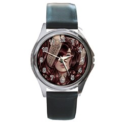 Beautiful Women Fantasy Art Round Metal Watch