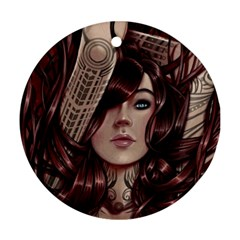 Beautiful Women Fantasy Art Ornament (round)