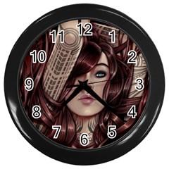 Beautiful Women Fantasy Art Wall Clocks (Black)