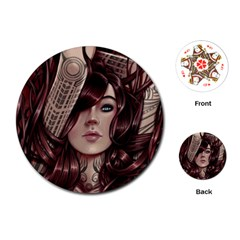 Beautiful Women Fantasy Art Playing Cards (round)