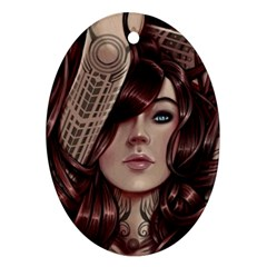 Beautiful Women Fantasy Art Oval Ornament (two Sides)