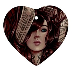 Beautiful Women Fantasy Art Heart Ornament (two Sides)