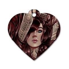 Beautiful Women Fantasy Art Dog Tag Heart (Two Sides)