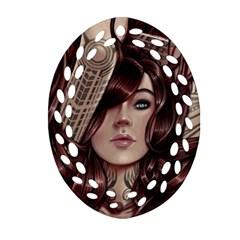 Beautiful Women Fantasy Art Oval Filigree Ornament (two Sides)