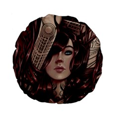 Beautiful Women Fantasy Art Standard 15  Premium Flano Round Cushions