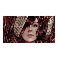 Beautiful Women Fantasy Art Satin Shawl