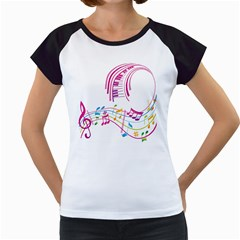 Musical Notes Pink Women s Cap Sleeve T
