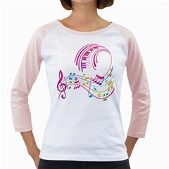 Musical Notes Pink Girly Raglans