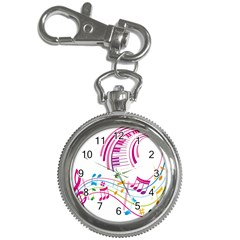 Musical Notes Pink Key Chain Watches