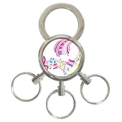 Musical Notes Pink 3 Ring Key Chains