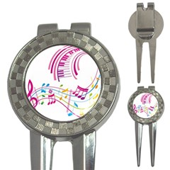 Musical Notes Pink 3 In 1 Golf Divots