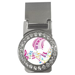 Musical Notes Pink Money Clips (cz)