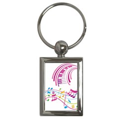 Musical Notes Pink Key Chains (rectangle)