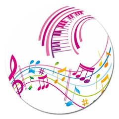 Musical Notes Pink Magnet 5  (round)
