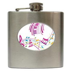 Musical Notes Pink Hip Flask (6 oz)