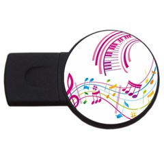 Musical Notes Pink USB Flash Drive Round (2 GB)