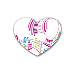 Musical Notes Pink Rubber Coaster (Heart)