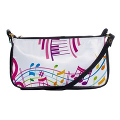 Musical Notes Pink Shoulder Clutch Bags