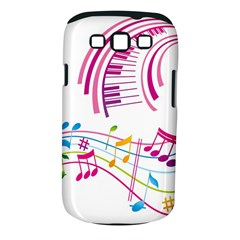 Musical Notes Pink Samsung Galaxy S III Classic Hardshell Case (PC+Silicone)