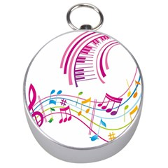 Musical Notes Pink Silver Compasses