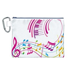 Musical Notes Pink Canvas Cosmetic Bag (L)