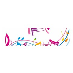 Musical Notes Pink Satin Scarf (Oblong)