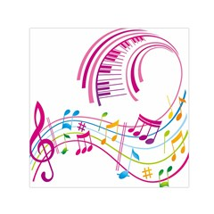 Musical Notes Pink Small Satin Scarf (Square)