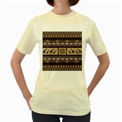 African Vector Patterns  Women s Yellow T Shirt